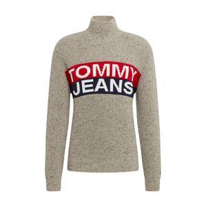 Tommy Jeans Mikina 'TJM LOGO PANEL SWEATER'  modré / sivá / červené