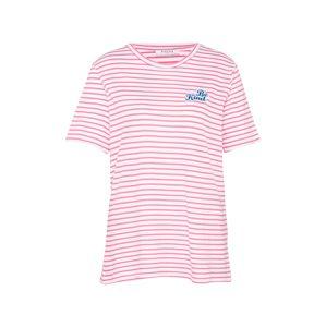 PIECES Tričko 'MERCY'  ružová / biela