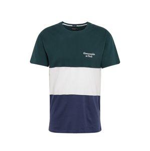 Abercrombie & Fitch Tričko  námornícka modrá / smaragdová / biela