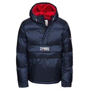 Tommy Jeans Zimná bunda 'PADDED POPOVER'  tmavomodrá / červená melírovaná / biela