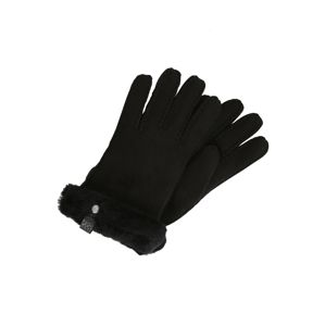 UGG Prstové rukavice 'Shorty Glove with leather trim'  čierna