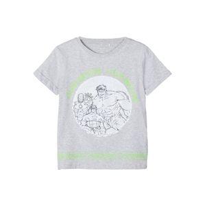 NAME IT Tričko  svetlozelená / sivá melírovaná / biela