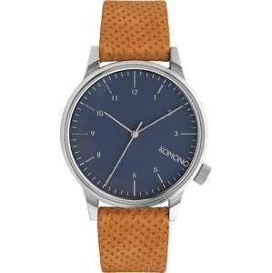 Komono Analógové hodinky 'Winston'  námornícka modrá / koňak / strieborná