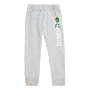 LEGO WEAR Nohavice  svetlosivá / biela / zelená / oranžová