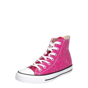 CONVERSE Členkové tenisky 'CHUCK TAYLOR ALL STAR GLITTER - HI'  ružová / biela