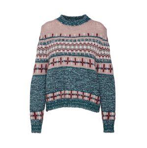 Essentiel Antwerp Sveter 'Rochers jacquard sweater'  zelená / ružová