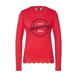 Superdry Tričko 'GRAPHIC LACE MIX LS TOP'  červená
