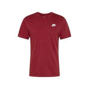 Nike Sportswear Tričko 'Club Tee'  vínovo červená / biela