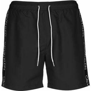 Calvin Klein Swimwear Plavecké šortky  čierna melírovaná / biela