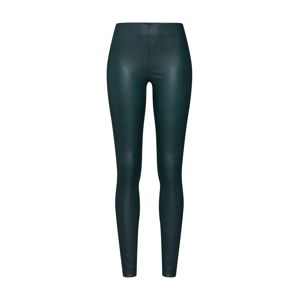 SELECTED FEMME Nohavice 'SLFSYLVIA MW STRETCH LEATHER LEGGIN'  tmavozelená
