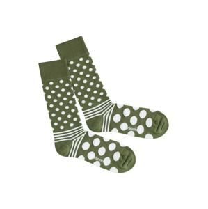 DillySocks Ponožky 'Dot Stripe Nature'  zelená / biela