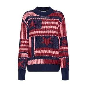 Tommy Jeans Sveter 'AMERICANA STAR'  červené / námornícka modrá / ružová