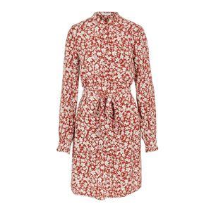 PIECES Košeľové šaty  biela / červené