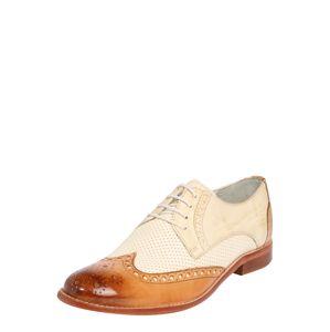 MELVIN & HAMILTON Šnurovacie topánky 'Amelie'  biela / béžová / koňak
