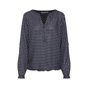 TOM TAILOR Blúzka 'check blouse with turn-up'  tmavomodrá / biela