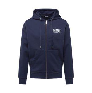 DIESEL Tepláková bunda  modrá / biela