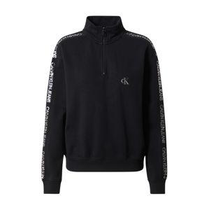 Calvin Klein Jeans Mikina  čierna / strieborná