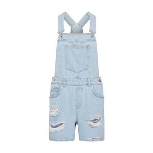 NA-KD Rifle na traky 'distressed denim short dungarees'  modrá denim
