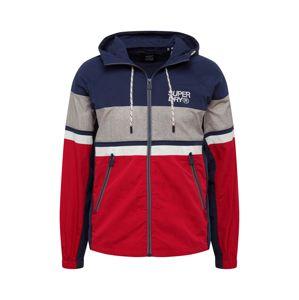 Superdry Prechodná bunda  námornícka modrá / sivá / červená