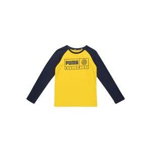 PUMA Funkčné tričko 'Alpha Graphic'  námornícka modrá / žlté