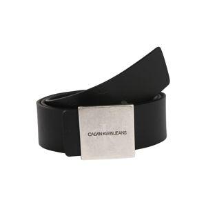 Calvin Klein Jeans Opasky 'UNIFORM SQ PLAQUE REV 38MM'  strieborná / čierna