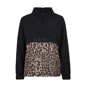 DKNY Sport Outdoorová bunda 'LEOPARD PARINT PRINTED PULLOVER'  čierna