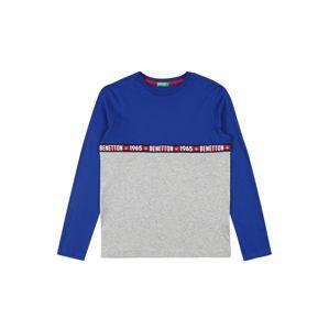 UNITED COLORS OF BENETTON Tričko  kráľovská modrá / svetlosivá / čierna / biela / červená