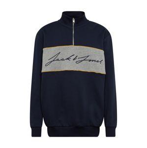 Jack & Jones Plus Mikina 'HIKARI'  námornícka modrá / sivá / žltá