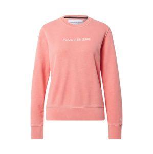 Calvin Klein Jeans Mikina 'Shrunken Institutional'  pastelovo červená