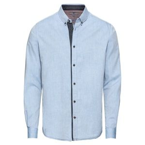 TOM TAILOR Košeľa 'floyd herringbone shirt'  modrá denim