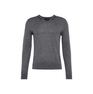The Kooples Sveter 'V-NECK PULLOVER WITH PIPING'  tmavosivá