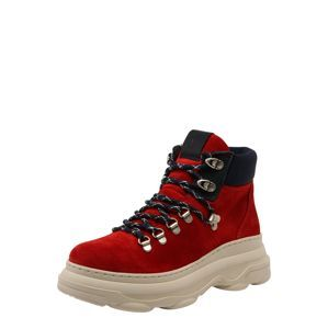 Marc O'Polo Boots 'Lace Flatheel'  červené / krémová / kobaltovomodrá