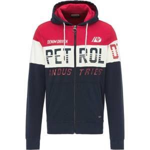 Petrol Industries Tepláková bunda  tmavomodrá / červené / biela