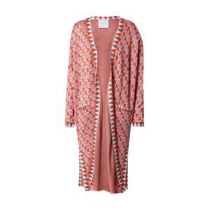 DELICATELOVE Pletený kabát 'Ida Big X'  ružová / svetlomodrá