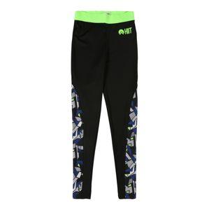 HIIT Športové nohavice 'abstract geo'  čierna / neónovozelená