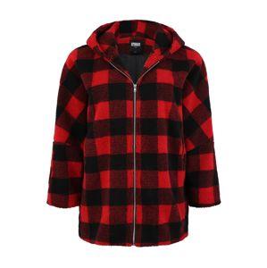 Urban Classics Curvy Prechodná bunda 'Check Sherpa Jac'  červené / čierna