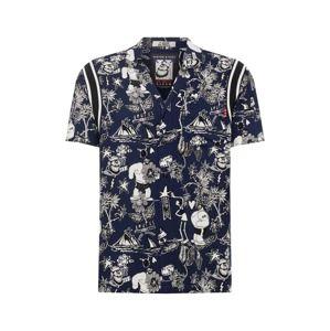 SCOTCH & SODA Košeľa 'Brutus Ams Blauw colab hawaiian fit shirt'  tmavomodrá / biela