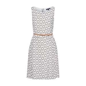 COMMA Letné šaty  biela / svetlohnedá