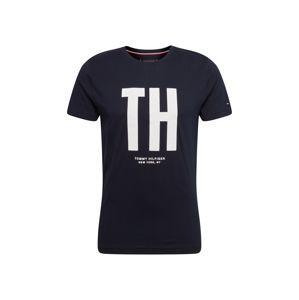 TOMMY HILFIGER Tričko 'BIG TH TEE'  čierna / biela