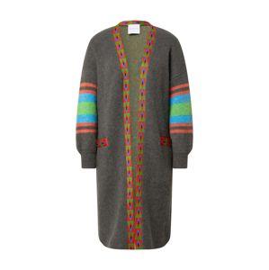 DELICATELOVE Pletený kabát 'Anna'  sivá / červená / modrá / jablková