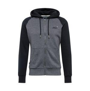 Superdry Tepláková bunda  čierna / sivá