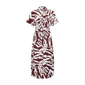 Whistles Košeľové šaty 'GRAPHIC ZEBRA SHIRT DRESS'  hnedé / biela