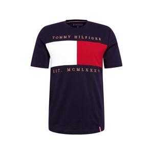 TOMMY HILFIGER Tričko 'FLAG CHEST'  tmavomodrá / červené / biela