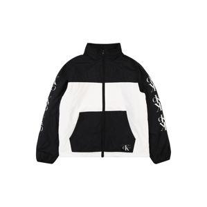 Calvin Klein Jeans Prechodná bunda  biela / tmavomodrá